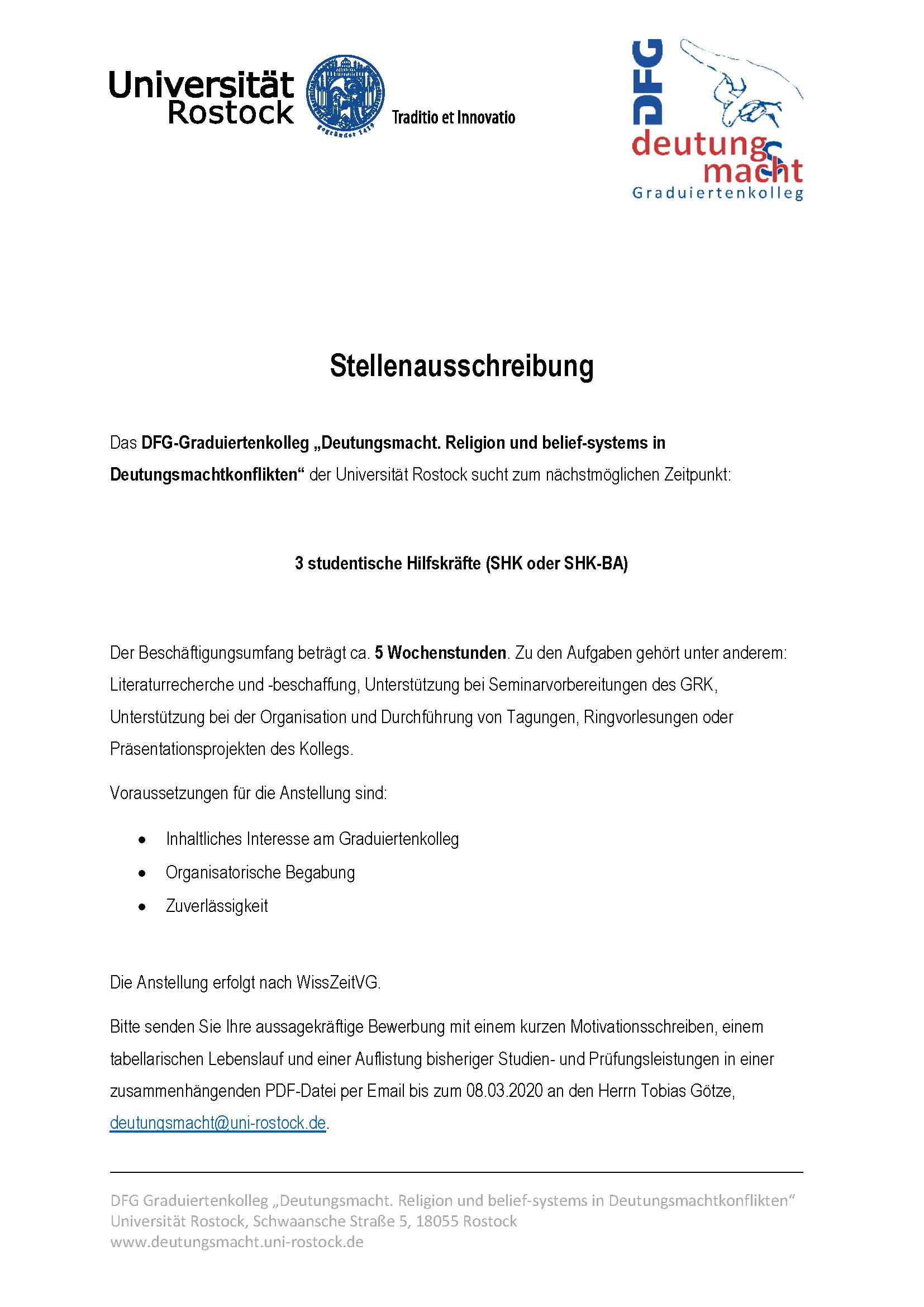 Studienplatzbewerbung Universitat Rostock
